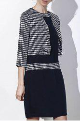 Chic Polka Dot Print Color Block Bodycon Dress and Jacket Twinset For Women