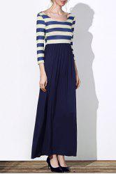 Trendy Scoop Neck 3/4 Sleeve Striped Women's Maxi Dress