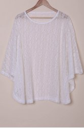 Sexy Scoop Neck Long Sleeve Hollow Out Lace Cover-Up For Women -