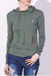 Drawstring Pocket Design Embroidered Hoodie