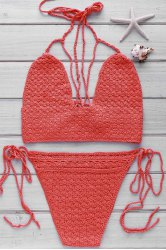 Chic Halter Self-Tie Crochet Bikini Set For Women - WATERMELON RED ONE SIZE(FIT SIZE XS TO M)