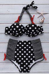 Sweet Halter Polka Dot Printed High Waist Bikini For Women