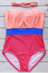 Strapless Contrast Underwire One Piece Swimwear -