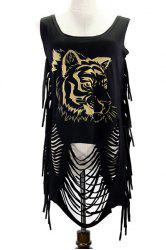 Fringed Ripped Tiger Printed Tank Top -