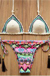 Alluring Halter Colored Geometry Print Lace-Up Women's Crochet Bikini Set -