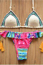 Alluring Halter Hit Color Flounced Lace-Up Women's Crochet Bikini Set -