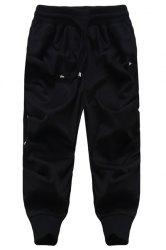 Loose Fit Lace Up Solid Color Harem Cropped Pants For Men - BLACK
