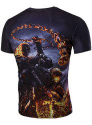 Slim Fit 3D Skull Warrior Printed Round Collar Short Sleeves T-Shirt For Men