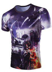 Slim Fit 3D Plane Printed Round Collar Short Sleeves T-Shirt For Men