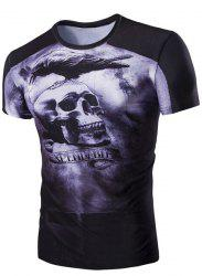 Slim Fit Skull Printed Round Collar Short Sleeves T-Shirt For Men - BLACK