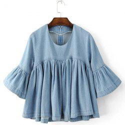 Scoop Neck Half Sleeves Denim Ruffle Shirt