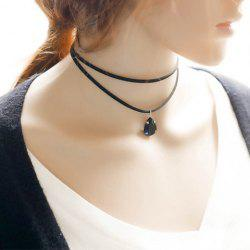 Faux Gem Water Drop Choker Necklace