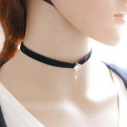 Geometric Alloy Rhinestone Choker Necklace - WHITE