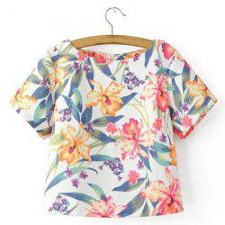 Sweet Jewel Neck Short Sleeves Floral Print T-Shirt For Women -
