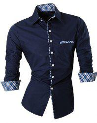 Hot Sale Single Breasted Turn Down Collar Splicing Plaid Shirt For Men -