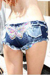 Trendy Low-Waisted Butterfly Pattern Sequins Embellished Fringed Women's Shorts