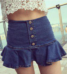 Trendy Button Design Flounce Slimming Women's Denim Culotte - DENIM BLUE