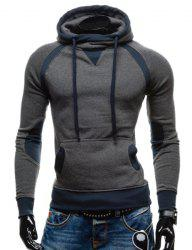 Simple Double Color Splicing Drawstring Hooded Long Sleeves Hoodie For Men - DEEP GRAY