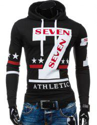 Popular Personality Hooded Star Letters Number Pattern Long Sleeves Hoodie For Men - BLACK