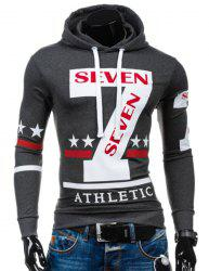 Popular Personality Hooded Star Letters Number Pattern Long Sleeves Hoodie For Men