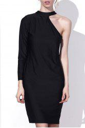 Sexy Round Collar One-Piece Sleeve Solid Color Bodycon Midi Dress For Women -