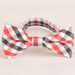 Stylish Tartan Pattern Red Black White Three Color Match Bow Tie For Men - RED