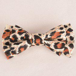 Stylish Leopard Pattern Double-Deck Bow Tie For Men