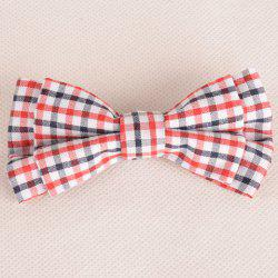 Stylish Tartan Pattern Red and White Double-Deck Bow Tie For Men