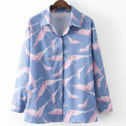 Leisure Style Shirt Collar Long Sleeve All-Over Birds Print Shirt For Women - BLUE AND PINK L