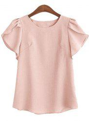 Charming Round Collar Petal Sleeve Solid Color Loose Blouse For Women - PINK 2XL