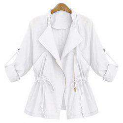 Stylish Turn-Down Collar Long Sleeve Solid Color Waist Drawstring Coat For Women