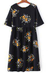 Retro Style Round Collar Short Sleeve Floral Print Loose Dress For Women -