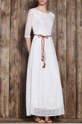 Romantic Solid Color 3/4 Sleeve Hollow Out Maxi Dress For Women -