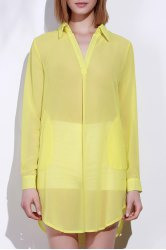 Stylish Turn-Down Collar Solid Color Loose-Fitting Long Sleeve Dress For Women