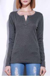 Casual V-Neck Long Sleeve Pure Color T-Shirt For Women - GRAY