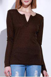 Casual V-Neck Long Sleeve Pure Color T-Shirt For Women
