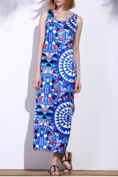 Bohemian Scoop Neck Sleeveless Printed Maxi Dress For Women