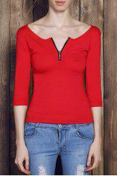 Sexy Low-Cut Solid Color Zippered 3/4 Sleeve T-Shirt For Women