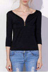 Sexy Low-Cut Solid Color Zippered 3/4 Sleeve T-Shirt For Women -