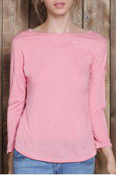 Chic Scoop Neck Solid Color 3/4 Sleeve T-Shirt For Women