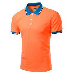 Color Block Splicing Design Turn-Down Collar Short Sleeve Polo T-Shirt For Men