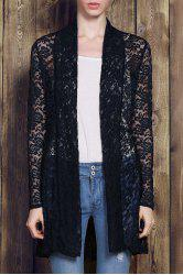 Plus Size Lace Embroidered Long Sleeve Cardigan For Women - CADETBLUE