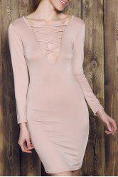 Plunge Criss Cross Long Sleeve Fitted Cream Dress - APRICOT