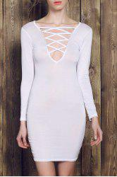 Plunge Long Sleeve Hollow Out Bodycon Dress