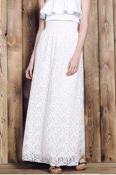 Elegant High-Waisted Lace Maxi Skirt For Women