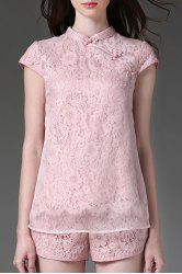Scalloped Voile Panel Lace Blouse and Shorts -
