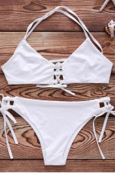 Spaghetti Strap Lace Up String Bathing Suit -