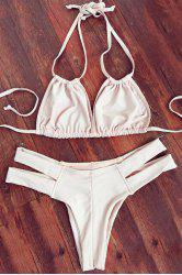 Trendy Lace-Up Ivory Women's Bikini Set - COMPLEXION M