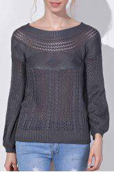 Chic Boat Neck Long Sleeve Pure Color Women's Sweater - GRAY