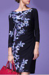 Ruched Sheath Floral Dress -